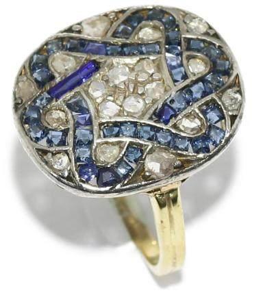 Anillo lanzadera, estilo Art Decó, con diamantes de talla an
