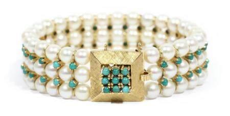 Pulsera de perlas y turquesas naturales, en oro amarillo de