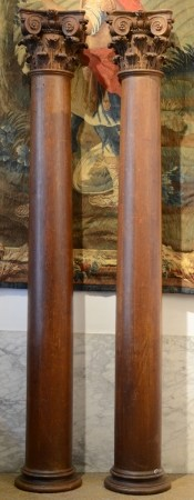 A paire decorative oak columns with capitals, 18th century (260cm)