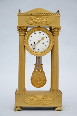 A fire-gilt column-clock signed Costa à Marseille, 19th century (32x68cm)
