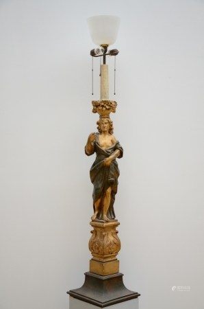 Lamp with a wooden sculpture 'caryatid' (166cm)