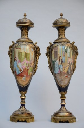 A pair of Sèvres vases with bronze decoration, 20th century (109cm)