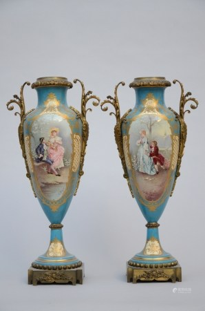 A pair of pale blue vases in Sèvres porcelain (*) (63cm)