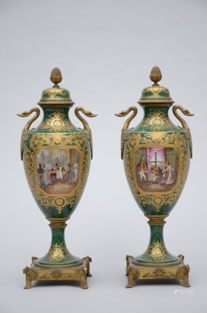 Pair of green vases in Sèvres porcelain 'Napoleon' (49cm)