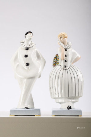Dax: a pair of porcelain Art Deco sculptures 'harlequins' (33cm)