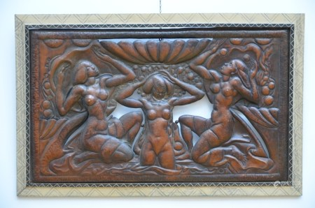 Art deco panel in copper repoussé 'African dancers' (85x53cm)