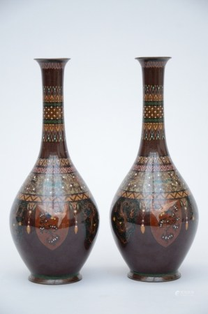 Pair of Japanese cloisonné vases 'birds' (40cm)