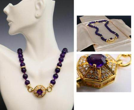 IMPORTANT 18KT Y GOLD AMETHYST & DIAMOND NECKLACE