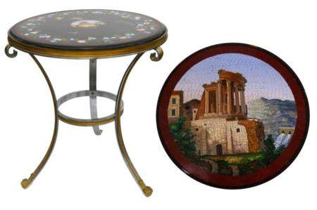 19TH C. ITALIAN MICROMOSAIC TABLE TOP WITH BASE