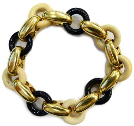 TIFFANY & CO 18KT Y GOLD AND ONYX LOOP BRACELET