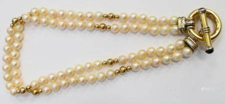 ELLEDUE DESIGNED 18KT Y GOLD AND PEARL NECKLACE