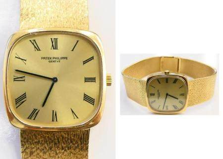GENTS PATEK PHILIPPE 18KT GOLD WATCH AND BAND