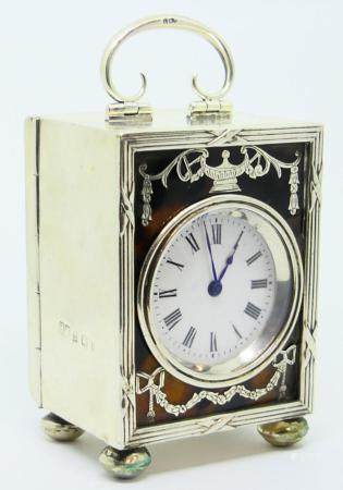 ANTIQUE STERLING ENGLISH DESK CLOCK BOULLE INLAY