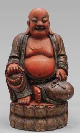 Budda, antica scultura in legno dorato e