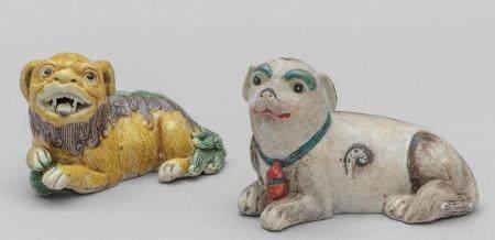 Due piccoli cani di Pho in porcellana, Cina inizi