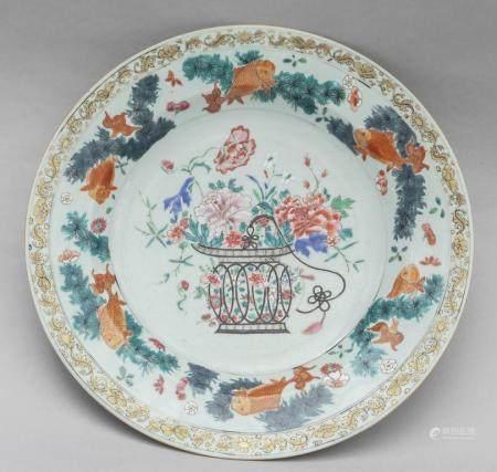 Piatto in porcellana Xian-Xi a decoro con un vaso