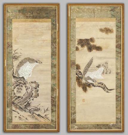 """Rapaci"" coppia di dipinti su carta, Giappone"