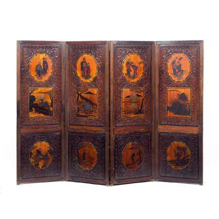 A wood and lacquer four-fold screen. China, Qing dynasty, la