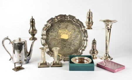 A large quantity of silver plated wares, to include several pieces by Walker and Hall, the tallest a