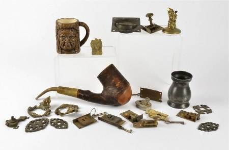 A late 19th Century carved continental pipe by Ropp of Bussang, together with several items of