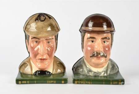 Royal Doulton figural bookends, D7038, D7039, Sherlock Holmes and Doctor Watson, height 20cm (2)