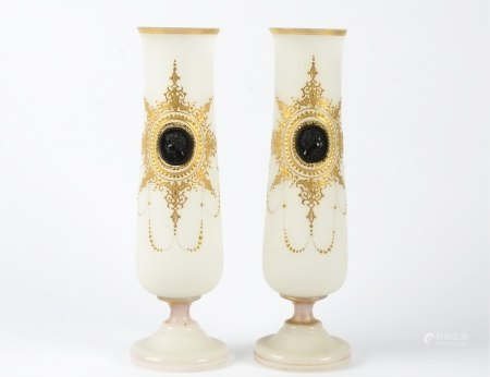 A pair of continental frosted glass vases, with central portrait roundel in the neo-classical style,