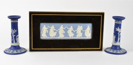 A framed Wedgwood blue and white jasperware plaque 'the dancing hours', with a dancing procession,