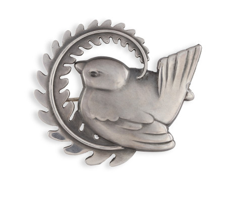 A SILVER BROOCH BY GEORG JENSEN, of bird and foliate design, with maker's marks for 'Georg Jensen'