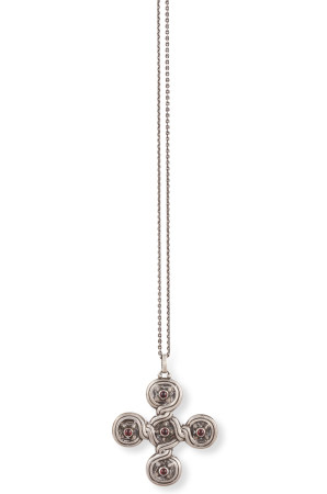 A SILVER PENDANT BY GEORG JENSEN, CIRCA 1915-19, of stylised cross design, set with cabochon