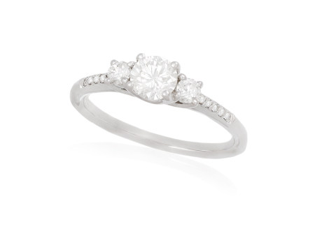 A SINGLE-STONE DIAMOND RING, the brilliant-cut diamond weighing approximately 0.60ct, to similarly-