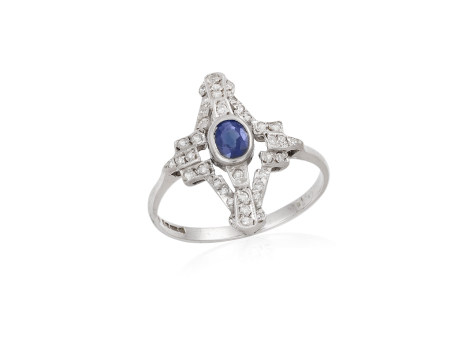 A SAPPHIRE AND DIAMOND RING, centrally set with a collet-set sapphire, to a single-cut diamond