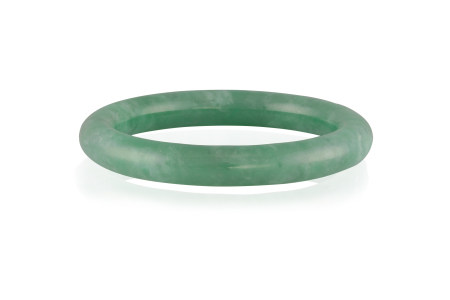 A JADEITE JADE BANGLE, the translucent jadeite bangle of green hue, suffused with white patches,