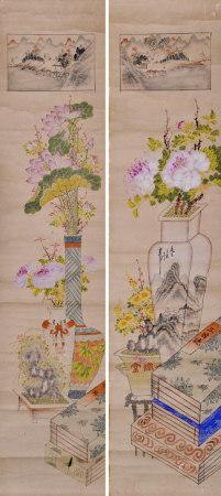 佚名 清供花卉对屏