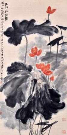 张大千 江风秋艳图