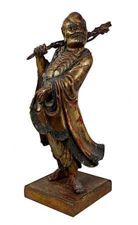 Große chinesische Holzfigur des Gottes der Langlebigkeit, Shou Lao, mit Stab und Kranich, aus