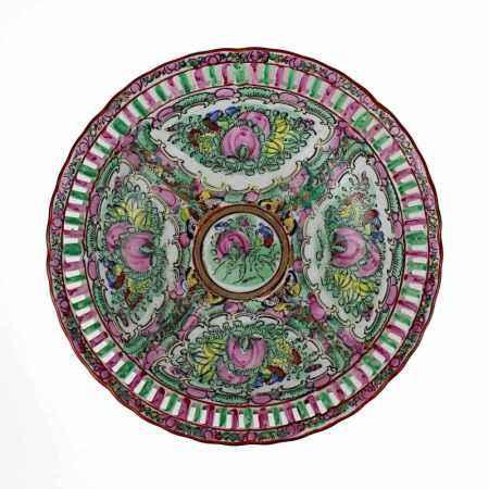 Porzellanschale, China A. 20. Jh., famille verte, Rand durchbrochen gearbeitet, auf Boden rote