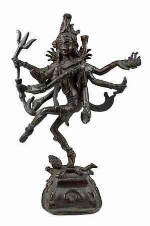 Tanzender Shiva, Bronze, Indien um 1900, achtarmige Figur des Gottes auf gewölbtem viereckigem
