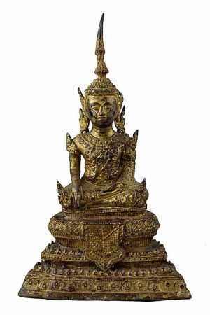 Bronzebuddha, Siam 19. Jh. Rattanakosin, in meditierender Haltung im Lotussitz, auf dreifach