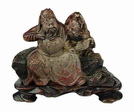 Chinesischer Würdenträger mit Berater, Specksteinfigur, China Ende 19. Jh., aus einem Stück