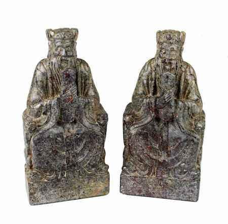 Paar geschnitzte Specksteinsiegel mit Darstellung des Konfuzius, China um 1900, graubrauner