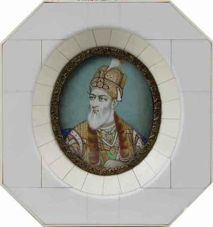 Bahadur Shah II, indisches Miniaturportrait, Tempera auf Elfenbein, Indien um 1900, sehr fein