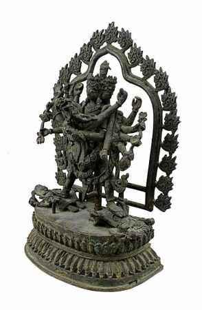 Cakrasamvara und Vajravarahi, Bronze, wohl Nordindien oder Nepal 18. Jh., 12-armige und 4-gesichtige