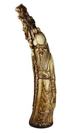 Shou Lao mit Stab und Korb, Elfenbein mit Resten von Vergoldung, China 18./19. Jh., stehende Figur