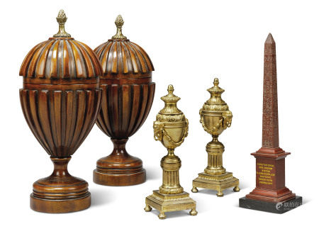 A PAIR OF ORMOLU CASSOLETTES, A RED MARBLE OBELISK AND A PAIR OF RIBBED MAHOGANY URNS AND COVERS