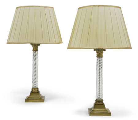 A PAIR OF BRASS-MOUNTED SPIRAL TWIST GLASS COLUMN TABLE LAMPS