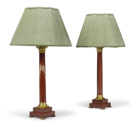 A PAIR OF ORMOLU-MOUNTED ROUGE GRIOTTE MARBLE COLUMN LAMPS
