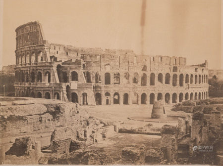 TWO LARGE FRAMED MONOCHROME PHOTOGRAPHS OF THE COLOSSEUM, ROME AND THE TEMPLE OF VESTA