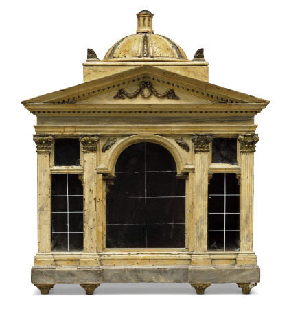 AN ITALIAN PARCEL-GILT, POLYCHROME-PAINTED AND MARBLED MODEL OF A TEMPLE