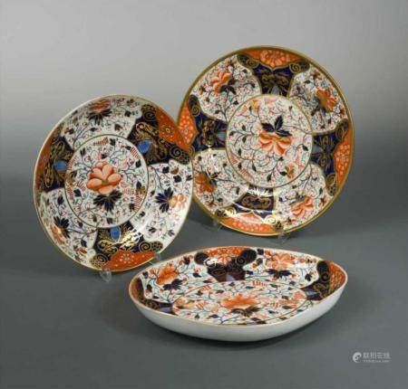 A collection of twenty two Derby and Davenport Imari porcela