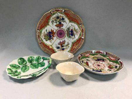 A Worcester 'Dragon in Compartments' pattern plate and sauce